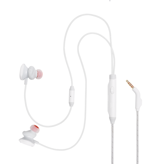 JBL Quantum 50 - White - Wired in-ear gaming headset with volume slider and mic mute - Detailshot 2