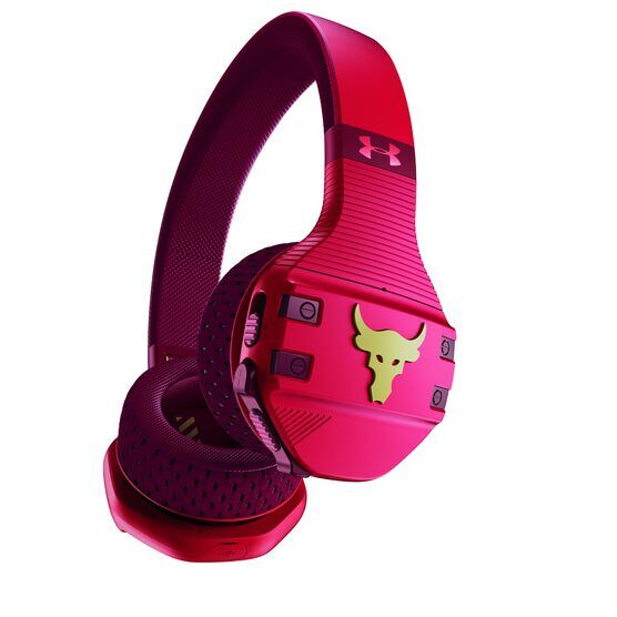 UA Sport Wireless Train Project Rock – Engineered by JBL - Red - On-ear sport Headphones - Detailshot 1