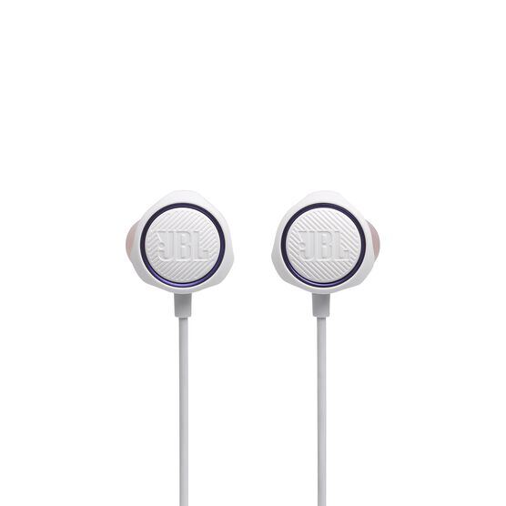 JBL Quantum 50 - White - Wired in-ear gaming headset with volume slider and mic mute - Front
