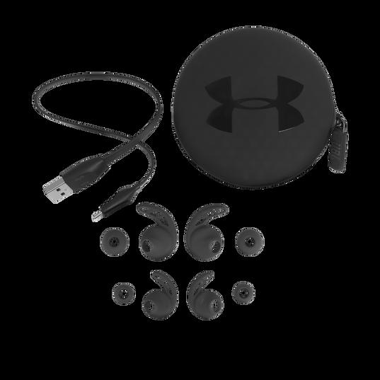 UA Sport Wireless REACT - Black - Secure-fitting wireless sport earphones with JBL technology and sound - Detailshot 4